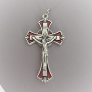 """Red & Silver Enamel Rosary Crucifix 2"""""""