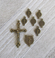 Rosary CENTER & CRUCIFIX & PATER St. BENEDICT 8pc BRONZE