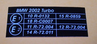BMW 2002 turbo E-Mark Underhood Sticker