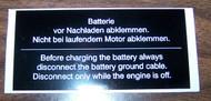 BMW 2002 Battery Warning Sticker 1968-1976