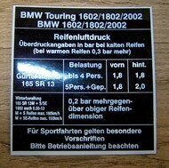 BMW 2002 Touring Tire Pressure Sticker