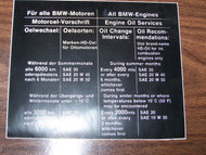 BMW 1602 2002 Oil Service Sticker 66-73 fur