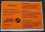BMW 2002 Underhood Achtung! Sticker
