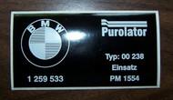 BMW 2002 Turbo Oil Filter Sticker Purolator