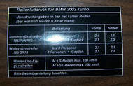 BMW 2002 Turbo Tire Pressure Sticker (German)