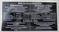 BMW E9 3.0cs Tire Pressure Sticker