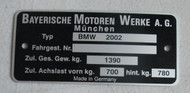 BMW 2002 Chassis Identification Plate pre-printed