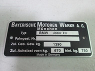 BMW 2002tii Chassis Identification Plate pre-printed