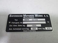 BMW E9 3.0cs Chassis Identification Plate pre-printed