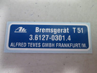 BMW 2002 Sticker for Brake Booster Ate 1