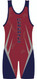 Custom Singlet Template 1558 by WarriorSport in Red/Navy/Silver Back View