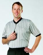 """Gray - Black Cliff Keen V Neck Referee Shirt 4"""" Added Body K14VPSA"""