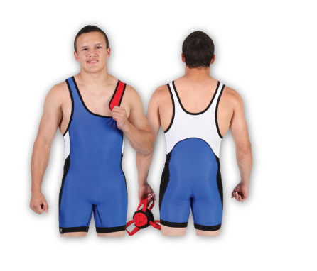 Royal-Red- White Mesh Matman Reversible Stock Singlet #14