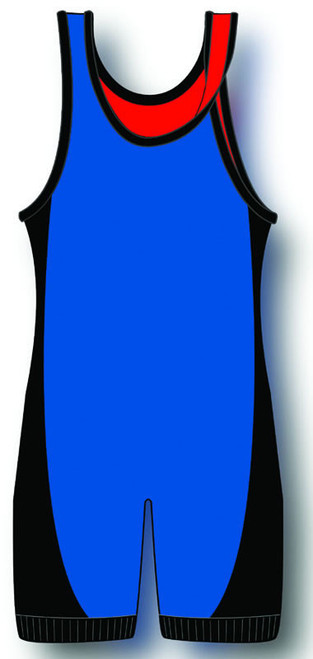 Royal-Red-Black Matman Reversible Lycra Stock Singlet