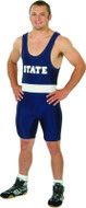 Solid Color-White Stripe Matman State Lycra Stock Singlet