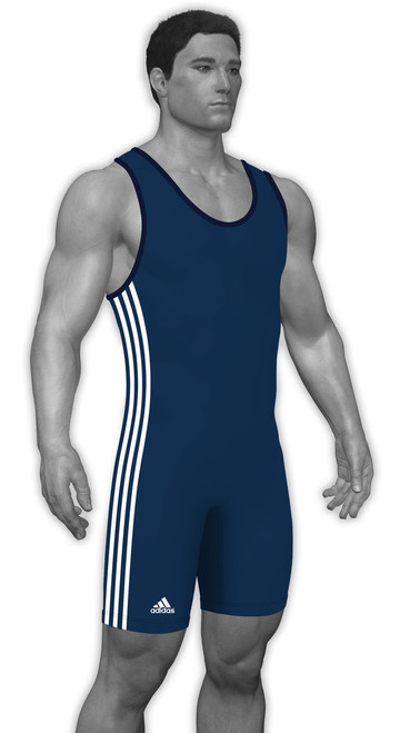 Navy - White 3 Side Stripe Adidas aS102s Lycra Stock Singlet
