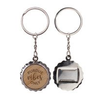 Wood Bottle Cap Bottle Opener Keytag