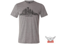 Rock over Milwaukee. Our ode to the city by the lake. Represent! Be proud. And don't wear other Milwaukee schlock. Buildings: US Bank, NML Tower, Mitchell Park Domes, 100 East Building, Art Museum, Eagles Ballroom and the Globe. Allen Bradley, Milwaukee Center, Gas Building, Miller Park, Bucks Arena, MECCA and 411 building. 4.3 oz., Organic cotton. 30 singles Low-impact yarn dyed.