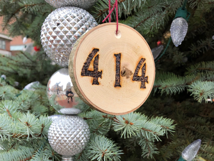 """Hand cut from cherry wood, the 414 Milwaukee ornament will look rad hanging from your Christmas tree for the holidays. City Hall Christmas tree not included with purchase. Finish size 4"""" x 3.5"""""""