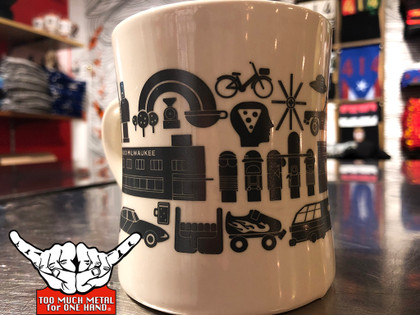 Too Much Coffee for One Hand. Super excited to have partnered with Stone Creek Coffee to bring you the official Milwaukee Too Much Metal coffee cup. 10oz Vitrified Mug