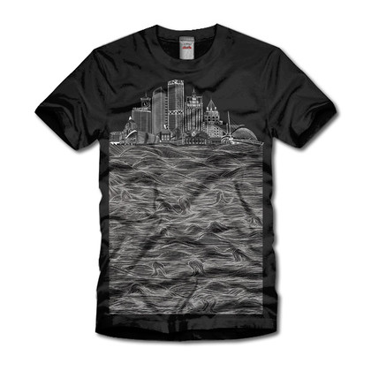 Milwaukee Skyline Waves Black T-shirt