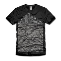 Milwaukee Skyline Waves Black T-shirt