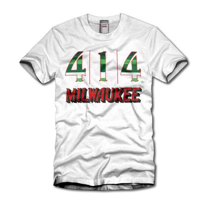 Proud to announce the 414 Milwaukee Irish Rainbow collection. This is a tribute t-shirt to the proud history of the Milwaukee Bucks. The Irish rainbow is a retro design feature running up and down the sides of the home and away uniform of the 1980s. Be proud of the city of Milwaukee and its basketball team.