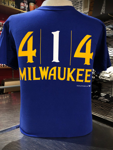 Hey Milwaukee — It's that time of the year when we push for our home team. Summer deep blue t-shirt. The official 414 Milwaukee Hometeam t-shirt. Hip-Hip-Hoorad. 100% vintage cotton, fitted t-shirt.