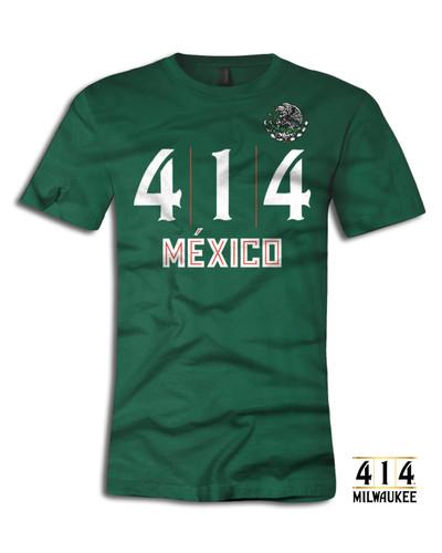 414 Mexico t-shirt version 2.0 Cuatro uno Cuatro Milwaukee shirt. 4.2 oz., 100% airlume combed and ringspun cotton, 32 singles