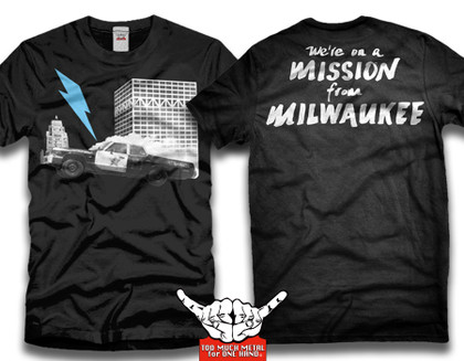 """The Blues Brothers was released in theaters on June 20 1980. This summer the movie will be on the big screen to celebrate its 40th anniversary. Although the car chase scene on I-794's unfinished freeway ramp was brief, it was an iconic part of the movie that people still talk about today. This is a tribute t-shirt to the legacy of the film.  I would like to proclaim June 20 2020, """"Blues Brothers Day"""" in Milwaukee. We're on a mission from God!"""