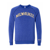 414 Milwaukee Blue and Cream Crew fleece