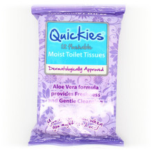Quickies Flushable Moist Toilet tissue Travel Wipes 12s