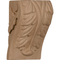 "2 1/2""W x 2 1/4""D x 4""H Small Acanthus Leaf Block Corbel, Red Oak"