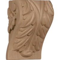 "3 1/4""W x 2 3/4""D x 5""H Medium Acanthus Leaf Block Corbel, Red Oak"