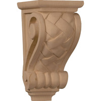 "3 1/2""W x 4""D x 7""H Small Basket Weave Corbel, Red Oak"