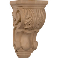 "3 1/2""W x 4""D x 7""H Small Traditional Acanthus Corbel, Walnut"