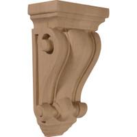 """4""""W x 2 1/2""""D x 7 1/2""""H Cole Pilaster Wood Corbel, Red Oak"""