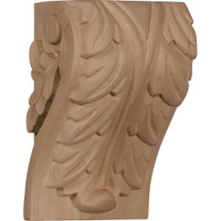 "3 3/4""W x 3 1/4""D x 6""H Large Acanthus Leaf Block Corbel, Red Oak"