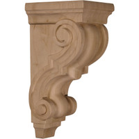 "4 1/2""W x 5""D x 10""H Medium Traditional Wood Corbel, Paint Grade"