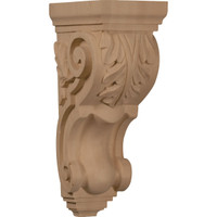 """5""""W x 7""""D x 14""""H Large Traditional Acanthus Corbel, Red Oak"""