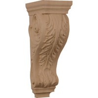 "6""W x 7 1/2""D x 18""H Extra Large Acanthus Wood Corbel, Rubberwood"