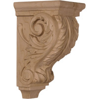 "3 1/2""W x 4""D x 7""H Small Acanthus Wood Corbel, Red Oak"