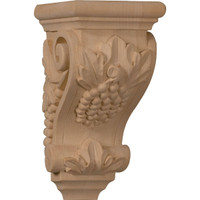 "3 1/2""W x 4""D x 7""H Small Grape Corbel, Walnut"