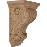 "8 1/2""W x 6 1/2""D x 14""H Large Wide Acanthus Wood Corbel, Red Oak"