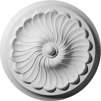 "12 1/4""OD x 2 1/4""P Flower Spiral Ceiling Medallion"