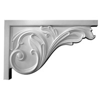 "11 3/4""W x 7 3/4""H x 3/4""D Large Acanthus Stair Bracket, Right"