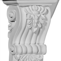 "4 1/8""W x 3""D x 5 3/4""H Leandros Fluted Leaf Corbel"