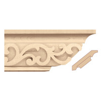 "MLD7026RO_4 1/4"" Crown Moulding w/ Baroque Insert Red Oak"