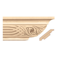 "MLD7060CH_4 1/2"" Crown Moulding w/ Nouveau Insert Cherry"