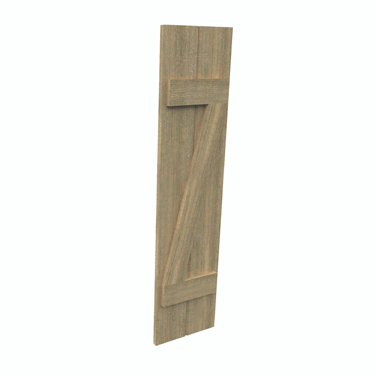 Fypon shutter___SH2PZC12X105RS___SHUTTER 2 BOARD AND Z-BATTEN12X105X1-1/2 ROUGH SAWN WOOD GRA